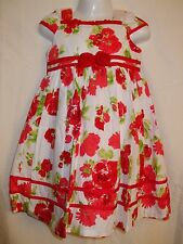 Girls Oomph Pretty White Summer / Party Dress with Red Flowers - Various