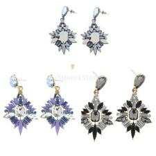 Lady Fashion Jewelry Alloy Ear Studs Leaf Crystal Shape Ear Hook Dangle Earrings