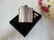 6oz silver Hip Flask.wedding gift usher engraved with choice of box sf2