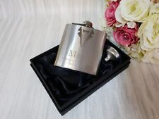 6oz silver personalised engraved Hip Flask Wedding groom in with box choice sf5