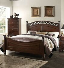 Manfred Carving Bedroom 1Pc Walnut Finish Queen Cal King Eastern King Size Bed