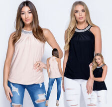 Diamante Trim Neck Eve Party Occasion Top Nude Blush Pink or Black Sizes 8 - 14