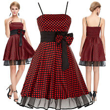 WOMEN POLKA DOTS 1950'S 60'S SWING PINUP HOUSEWIFE VINTAGE EVENING FLARED DRESS