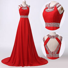 RED Long Chiffon Celebrity Dress Ball Evening Gown Bridesmaid Party Formal Prom*