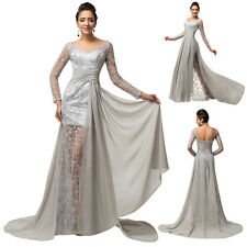 Long Sleeve Chiffon LACE Formal Prom Party Bridesmaid Evening Dress Ball Gowns .