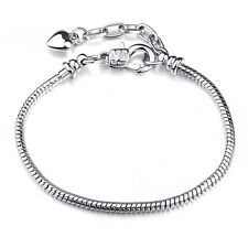 Silver Plated Beads Charm Lobster Claw Clasp Snake Chain Women Bracelet Bangle D