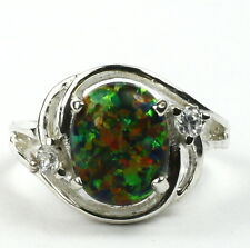 Created Black Opal, 925 Sterling Silver Ring, SR021-Handmade