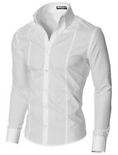 MODERNO Mens Dress Shirts Slim Fit Long Sleeve High Button down Collar (MSSF501)