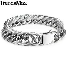 15mm Mens Chain Curb Cuban Rombo Silver Tone 316L Stainless Steel Bracelet Gifts