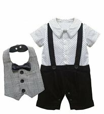 Baby Boy Wedding Christening Party Tuxedo Outfit+Bibs Suit Clothes Set 3-24M