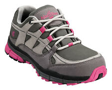 Nautilus Womens Steel Toe SD Athletic M Grey/Pink Faux Leather Shoes