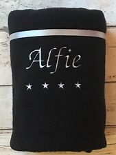 PERSONALISED BABY BLANKET STARS BOYS GIRLS EMBROIDERED BIRTH CHRISTENING GIFT