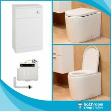 Back to Wall BTW Round WC Pan Concealed Cistern Toilet Seat & WC Units