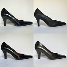 Orlando Black Grey Navy Pointed Leather Court Shoes Plain Patent Low Heel