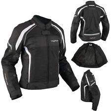 Ladies Textile Jacket Motorcycle Motorbike Armour CE Breathable Summer White