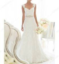 New UK Lace Mermaid FREE PETICOAT CUTOM Wedding Dress with Cap Sleeve and Sashes