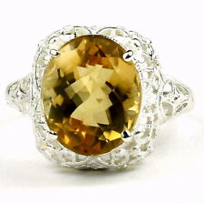 Citrine, Solid 925 Sterling Silver Ladies Ring, SR009-Handmade
