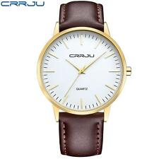 CRRJU Men Business Watch 3ATM Water Resistant Leather Analog Quartz Watch F0K1