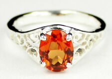 Created Padparadsha Sapphire, 925 Sterling Silver Ladies Ring,SR005-Handmade
