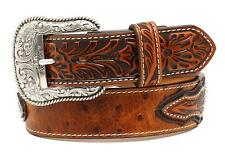 Ariat Western Mens Belt Leather Ostrich Overlay Conchos Brown A1024402