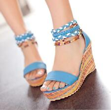 New Womens Weaved Open Toe Sandals Boho Platforms Wedge Heels Sandals Shoes Sz