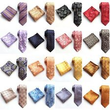 NEW JACQUARD WOVEN Wedding Tie Silk Mens Necktie Pocket Square Set Gift