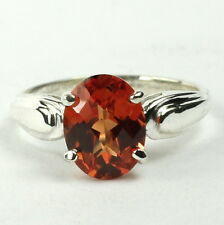 Created Padparadsha Sapphire, 925 Sterling Silver Ladies Ring, SR058-Handmade