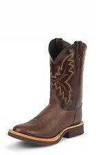 Justin Mens Brown Smooth Ostrich Western Boots 11in Calfino