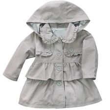 Toddler Baby Girls Clothes Hooded Trench Coat Wind Jacket Kids Outwear  SZ 6M-5T
