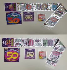 50th Birthday Party Pack Banners, Wall & Ceiling Decorations, candles, Balloons