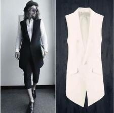 Mens Stylish Leisure Lapel Waistcoat Vest Slim fit Casual Vest Black/White