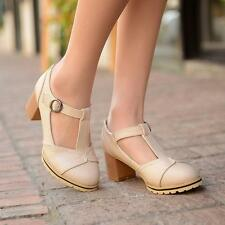Womens Retro Mary Jane Vintage Block heel T-Strap Pumps buckle Casual Shoes size