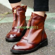 Womens Retro Leather Flats Heel Ankle Boots Front Zip Round Toe Oxfords Shoes UK