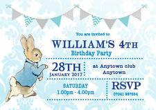 Personalised Birthday invitations Boy Peter Rabbit inc envelopes