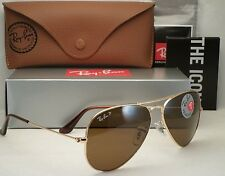 NEW AUTHENTIC RAY BAN AVIATOR RB3025 001/57 58MM POLARIZED BROWN LENS GOLD FRAME