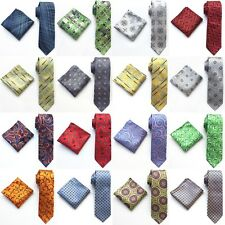 New Fashion Wedding Jacquard Woven Silk tie and  Pocket Square Hankie Set