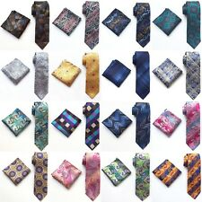 New Fashion Wedding JACQUARD WOVEN Silk tie and  Pocket Square Set