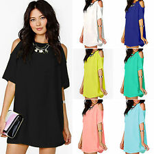 Womens Off Shoulder Mini Dresses Chiffon Tunic Party Summer Blouse Top Sundress