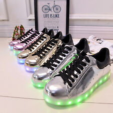 LADIES WOMENS LIGHT UP LED LUMINOUS LACE UP TRAINERS CASUAL SNEAKERS SHOES SIZE