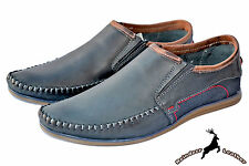 Mens Genuine Buffalo Leather Blue Moccasins Driving Deck Shoes Loafers Slip On