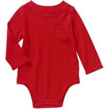 Baby Boys Cotton Red Long Sleeve Pocket Creeper Bodysuit Romper 0-3 Month NEW