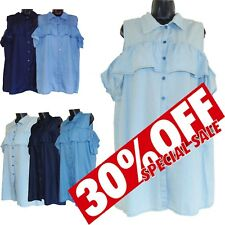 Italian Lagenlook Cold Shoulder Collar Top Shirt Button Frill Short Sleeve Dress