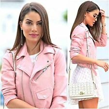 ZARA Woman BNWT Authentic Pink Leather Effect Biker Jacket With Zips 3046/221