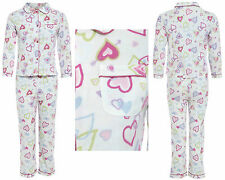 Girls 100% COTTON Flannel Pyjamas Brushed Wincy Buttoned White Pink Heart Warm