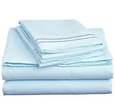 LUXURIOUS 2 LINE EMBROIDERED 4 PIECE BED SHEET SET, KING QUEEN TWIN FULL, BLUE