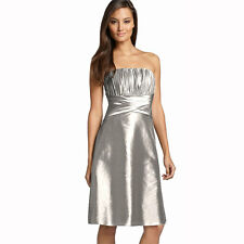 Strapless Pleated Knee Length Formal Taffeta Cocktail Party Dress Silver