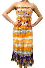100% Cotton! Maxi Sundress in Brilliant Orange & Purple Tie Dye! Strapless.