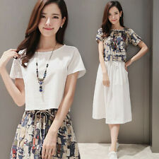 new summer Korean fashion trend comfortable printing Cotton two-piece dresses