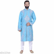 Indian Designer Blue Kurta Sherwani for Men 2pc Suit (Worldwide Postage)