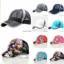 Unisex Plain Golf Baseball Cap Trucker Mesh Curved Visor Hat Adjustable Snapback